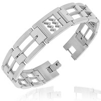 Stainless Steel Silver-Tone Link Chain Zodiac Sign Aquarius Mens Bracelet with Clasp