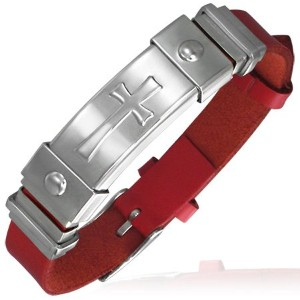 Stainless Steel and PU Faux Leather Red and Silver Maltese Cross Womens Bracelet