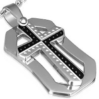 Stainless Steel Black Silver-Tone Religious Cross Pendant Necklace