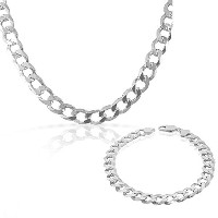 925 Sterling Silver Mens Classic Cuban Curb Link Chain Necklace Bracelet Set - Made in Italy