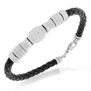 Stainless Steel Black Leather Braided Mens Bracelet