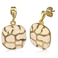 Stainless Steel Pink Yellow Gold-Tone Square Drop Dangle Stud Earrings