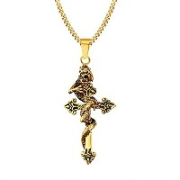 PF : Vintage Dragon Necklace Pendant Gold Plated Stainless Steel High Quality