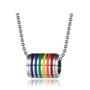 PF : Rainbow Loop Necklace Pendant For Men Women Fashion Jewelry Stainless Steel