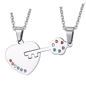 PF : Key Couples Necklace Pendant Sets for Lover Stainless Steel Metal With Chain
