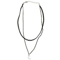 CZ クレセント 二 ライン チョーカー ネックレス (CZ Crescent Two Line Choker Necklace)