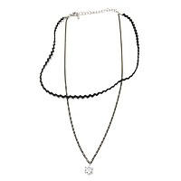 CZ 二 ライン チョーカー ネックレス (CZ Two Line Choker Necklace)