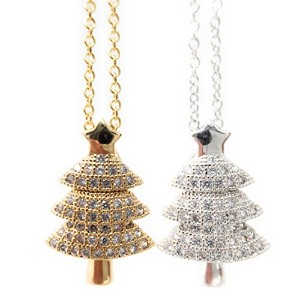 CZ クリスマスツリー チェーン クリップ ネックレス (CZ Christmas tree Chain Clip Necklace)