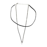 CZ ハート 二 ライン チョーカー ネックレス (CZ Heart Two Line Choker Necklace)