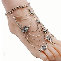 Silver Vintage Barefoot Anklet Chain for Women