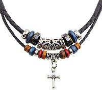 Double Layer Leather Handmade Cross Pendant Necklace