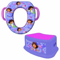 Nickelodeon Dora the Explorer Potty Seat and Step Stool Combo Set, Portable, Easy Cleaning, Purple...