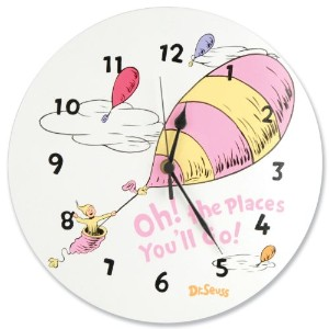 Trend Lab Dr.Seuss Wall Clock, Oh! The Places You'll Go Pink by Trend Lab