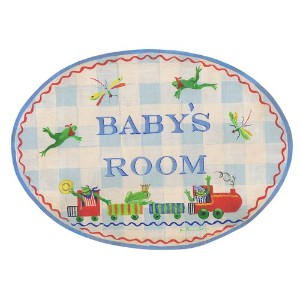 The Kids Room by Stupell Baby's Room with Frogs on a Train Oval Wall Plaque by The Kids Room by...
