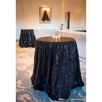 B-COOL sequin tablecloth 50 Round Black Sparkly Sequin tablecloth by B-COOL