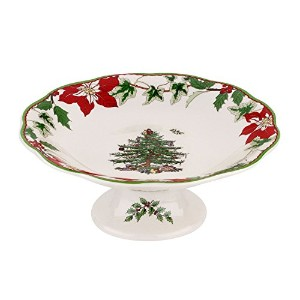 """SpodeクリスマスツリーAnnual Footed Candy Dish 7"""""""
