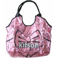KITSON/キットソン スパンコールトートバッグ Los Angeles Bow Sequin Tote Black/Pink【ラッピング無料】【楽ギフ_包装】【10P11Mar16】...