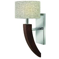 Fredrick Ramond FR42340PCM One Light Polished Chrome Textured Fabric Shade Wall Light by Hinkley