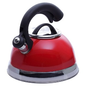 Creative Home 77037 Symphony Pomegranate Red Over Stainless Steel Body Whistling Tea Kettle with...