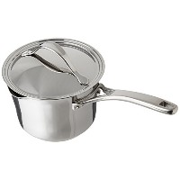 Anolon Nouvelle Copper Stainless Steel 3-1/2-Quart Covered Straining Saucepan by Anolon