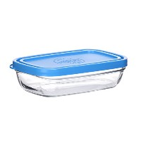 Duralex Made In France Lys Rectangular Bowl with Lid, 13 oz, Clear/Blue by Duralex
