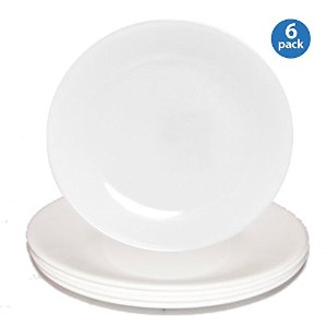 Corelle Livingware Luncheon Plate, Winter Frost White, Size: 8-1/2-inch (6 Pack, White) by Corelle...