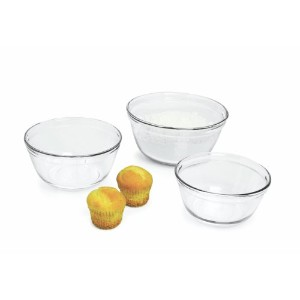 Anchor Hocking 3-Piece Mixing Bowl Set, Clear by Anchor Hocking