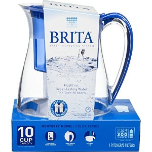 Brita Water Filter Pitcher, Monterey Model, 2 Filters, 10 Cup Capacity (Blue) by Brita