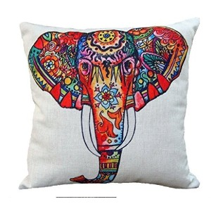象のクッションカバー マルチカラー エレファント 45cm CoolDream Cotton Linen 18 by 18-Inch Decorative Throw Pillow Cover, Multicolor Elephant