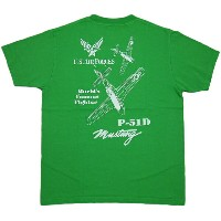 "BUZZ RICKSON'S (バズリクソンズ) P-51 MUSTANG S/S T-SHIRT ""P-51 WORLD'S FAMOUS FIGHTER"" (半袖バックプリントTシャツ)..."
