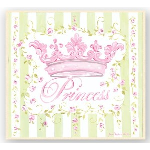 The Kids Room by Stupell Pink Crown with Green and White Stripes Square Wall Plaque by The Kids...