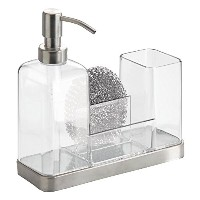 InterDesign Brushed Stainless Steel Forma 2 Soap and Brush Caddy, Clear by InterDesign