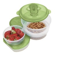 Oggi Chill To Goフードコンテナwith Drink Bottle and Removable冷凍庫パック Food Container with Spoon 5147.11