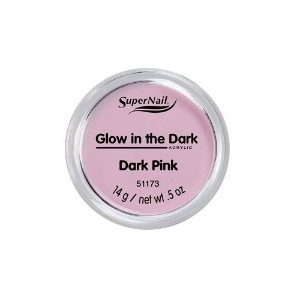 SuperNail Glow in the Dark Acrylic Powder - Dark Pink - 0.5oz / 14g