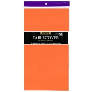 1 DISPOSABLE PLASTIC TABLE COVER / TABLECLOTH (Orange) by Party