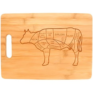 Beef Butcher Cuts Cow Kitchen Dテδゥcor Barbecue BBQ Burgers Big Rectangle Bamboo Cutting Board...