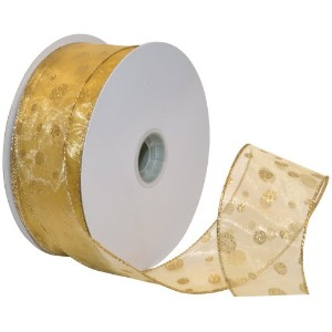 Morex Ribbon Glitter Dots Wired Sheer Glitter Ribbon, 2-1/2-Inch by 50-Yard Spool, Gold by Morex...