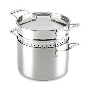 Lagostina Q55572 Axia Tri-Ply Stainless Steel Dishwasher Safe Pastaiola Set Cookware, 6-Quart,...