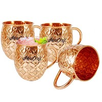 AsiaCraft Pure Copper flower cut Outside Lacquer mugs Set of 4