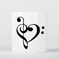 Cute Treble Clefs Heart Love 貯金箱