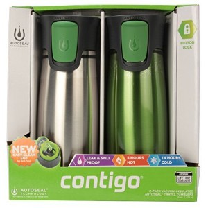 Contigo Astor Vacuum-Insulated Autoseal Easy Clean Lid Travel Tumblers Stainless Steel / Green by...