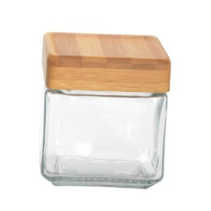Anchor Hocking 1-Quart Stackable Jars with Bamboo Lids, Set of 4 by Anchor Hocking