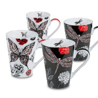 Konitz 2 Dragonfly and 2 Butterfly Mugs, Black/Red, Set of 4 by Konitz