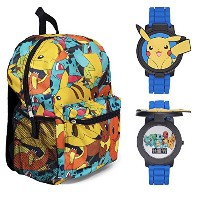 """Pokemon 16"""" Multi Printバックパックwith Pikachu Flip Up Watch–キッズ"""