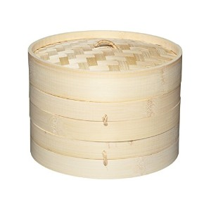 "Pure Oriental Two Tier Bamboo Steamer and Lid 20cm (8"") Display Boxed"