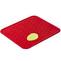 Red Extra-Large Silicone Dish-Drying Mat & High-Heat Resistant Trivet With BONUS Silicone Scrubby |...