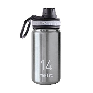 Takeya ThermoFlask Insulated Stainless Steel Water Bottle, 14 oz, Steel by Takeya