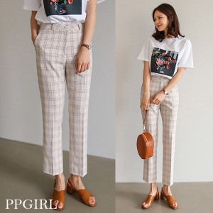 送料 0円★PPGIRL_9721 Mono slacks / slim straight fit pants / suit slacks / check pants / ankle lengt