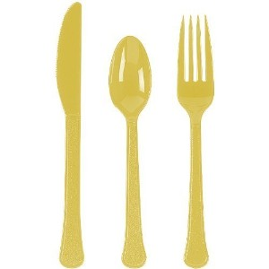 24 Piece Yellow Sunshine Heavy Duty Plastic Ware 8 Each Piece by Amscan