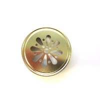 Gold Daisy Cut Metal Lids 12ct for Mason Jars by Technocap